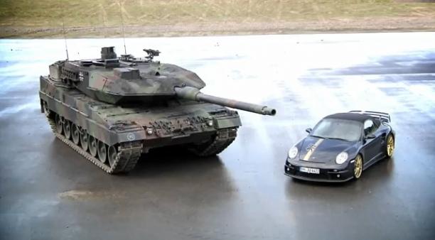Porsche 9ff Vs. Leopard 2 Tank - Boys And Their Toys