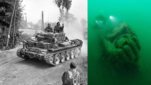 Historic Centaur CS IV Tanks Resting Below The Sea
