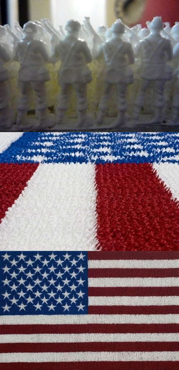 American Flag Made From Plastic Toy Soldiers