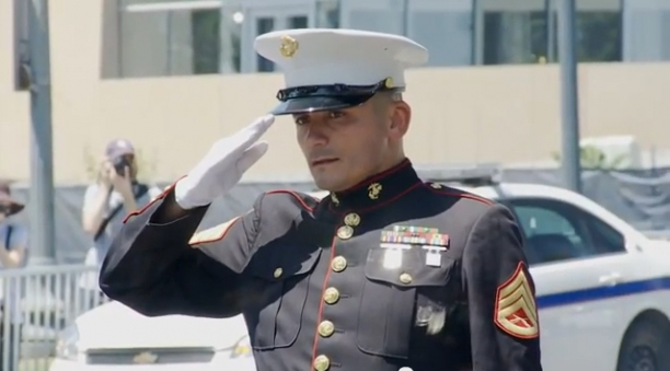 Single Marine Gives Tribute During Rolling Thunder