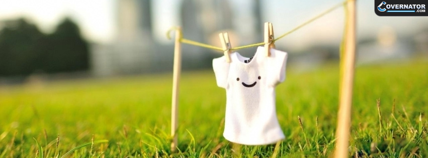 white t-shirt with smiley Facebook cover