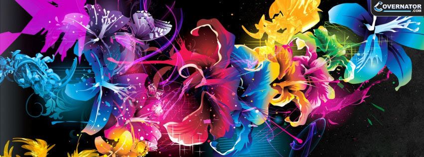cool vector flowers Facebook cover