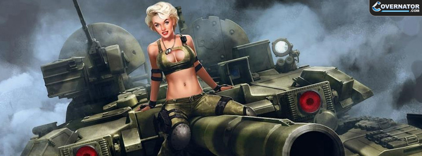 Marilyn riding Soviet T-90 Facebook cover