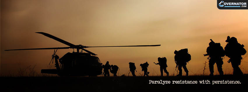 paralyze resistance with persistance. Facebook cover